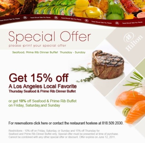15% off Cafe Sierra Seafood & Prime Rib Buffet at Hilton Universal City